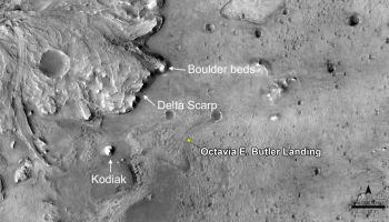 This image from the HiRISE camera onboard NASA's Mars Reconnaissance Orbiter (MRO) shows an orbital view of the delta fan in Jezero crater and the Perseverance rover landing site, informally named the Octavia E. Butler. The hill named Kodiak, the Delta Scarp and the location of boulder-rich material.
