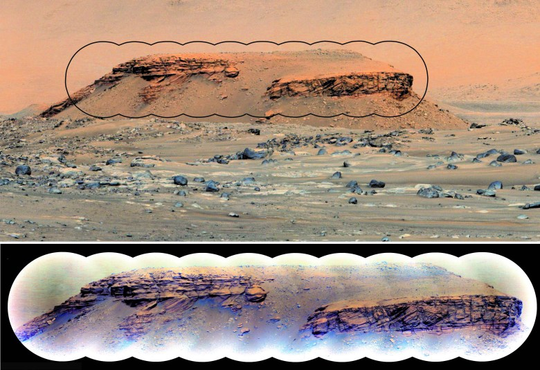 Sedimentary rock layers in the hill Kodiak. Upper image shows view of Kodiak taken by the Mastcam-Z camera from a distance of ~2.24 km. Lower image shows a SuperCam Remote Microscopic Imager (RMI) mosaic showing distinctive inclined beds sandwiched between horizontal beds that are telltale signs of deposition in a delta environment.