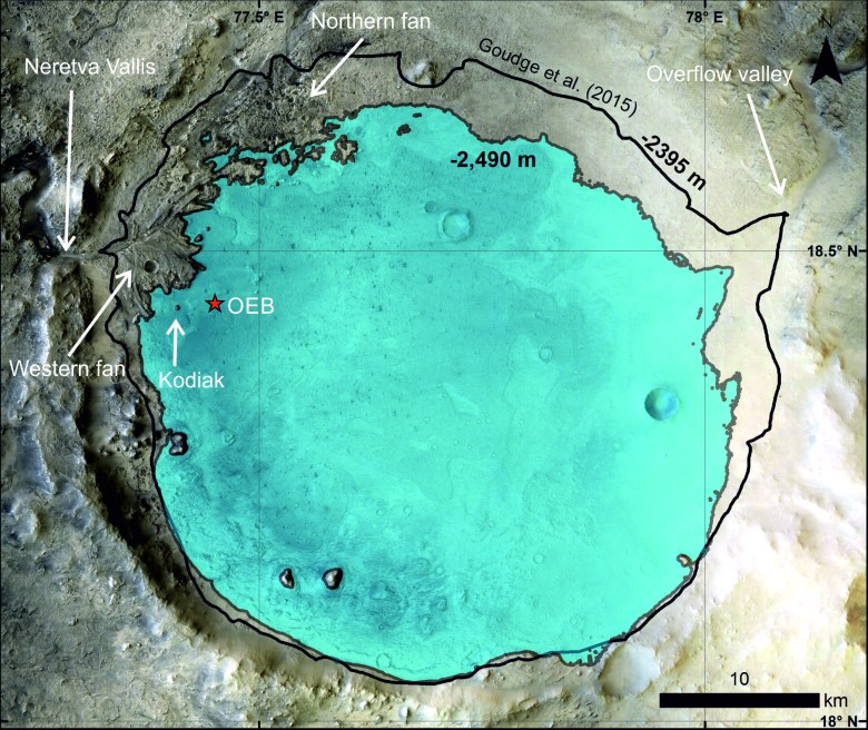 Inferred paleolake level inside Jezero crater at the time of Kodiak sediment deposition. Blue shading indicates assumed lake level filled to the -2490 m gray contour. The red star indicates Octavia E. Butler (OEB) landing site of the Perseverance rover. Background from the Context Camera (CTX) mosaic