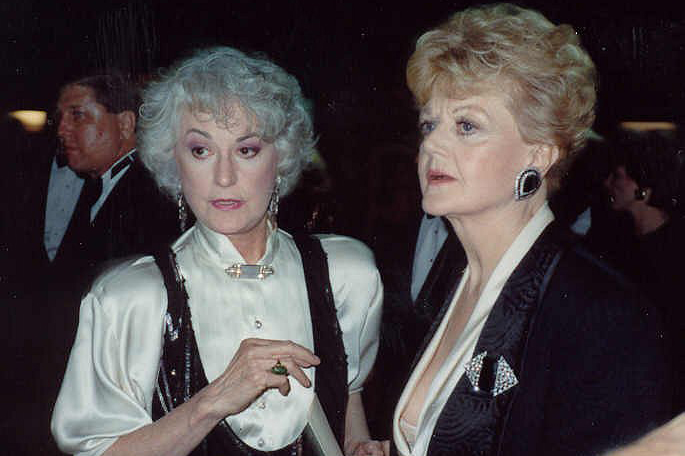 Bea Arthur, left, and friend Angela Lansbury at the Emmy Awards on Sept. 17, 1989. Photo by Alan Light