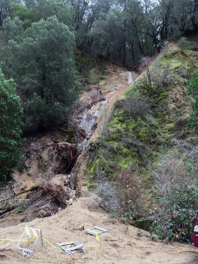 In 2017, a large rock and mudslide closed the State Parks parking lot at the 49'er Bridge. Photo YubaNet