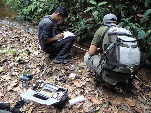 Martim Murillo measures water quality of Rio Jacagua, assisted by Farlem Espana. Credit: David King