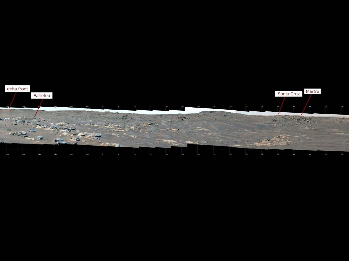 """This mosaic features a rover-eye view of the """"South Séítah"""" geologic unit of Jezero Crater. Composed of 84 enhanced-color images that were later stitched together, the mosaic was taken on Sept. 12, 2021 (the 201st Martian day, or sol, of the mission), by the Mastcam-Z imager as the rover was parked on an elevated overlook just outside its entry point into South Séítah."""