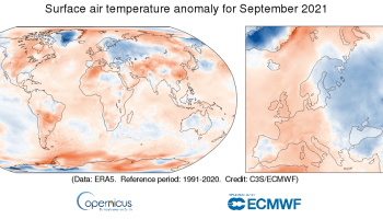 Surface air temperature anomaly for September 2021 relative to the September average for the period 1991-2020. Data source: ERA5. Credit: Copernicus Climate Change Service/ECMWF.