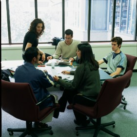 A group of students meet for a study group