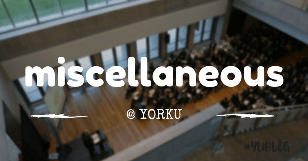 Birdseye view of people sitting in rows at the Schulich School of Business. Superimposed by text: miscellaneous at YorkU.