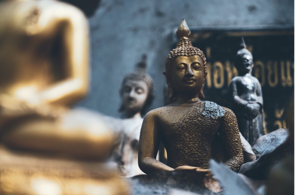 Metal statues of Lord Buddha
