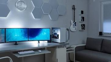 Clean White Guitar & 3 Panel Monitor Computer Work Desk