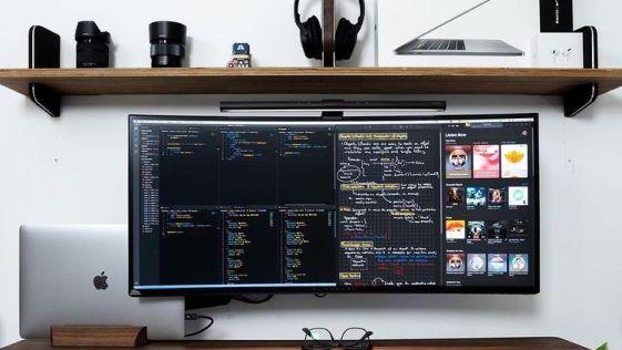 Clean White Woodgrain Trading Desk Computer Setup