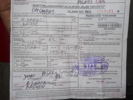 surat tilang polisi sumber Cirebon