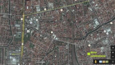 peta yudibatang melewati jalan kartini Cirebon