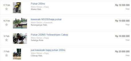 iklan jual Bajaj Pulsar 200 ns