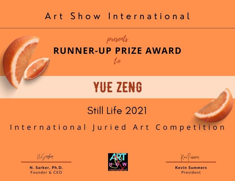 Yue Zeng Still life award