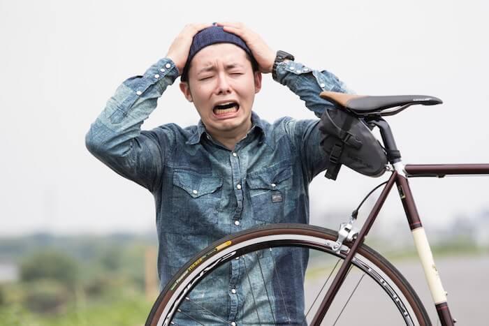 自転車がパンクした