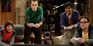 Four actors in the Big Bang Theory are Playing Video Games