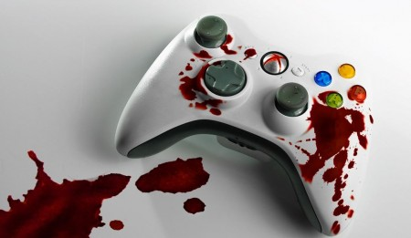 Image of controller depiciting violence in video games debate