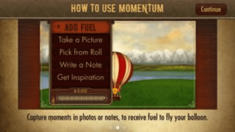Screenshot of how to use the Momentum App