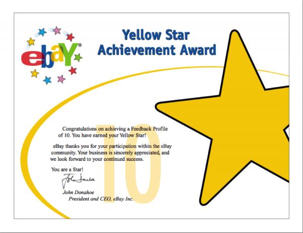 Yellow Star Award from ebay