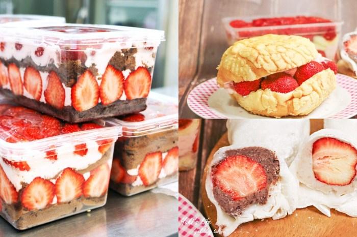 台北美食【果汁媽粉條爸】鋪滿大顆草莓蛋糕盒、草莓菠蘿~草莓季不可錯過CP值爆高草莓甜點盒(捷運新埔站)