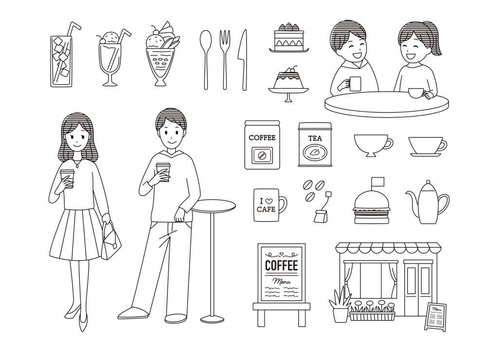 食事 カフェ コーヒー メニュー 無料 イラスト モノクロ 白黒  教材 イラスト教材