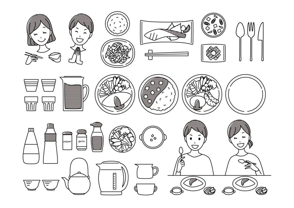 料理 食事 食べる メニュー 無料 イラスト モノクロ 白黒 カレー オムライス 教材 イラスト教材 食器 調味料