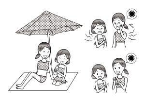 モノクロ無料イラスト 水着とプール