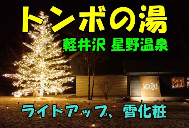 トンボの湯。雪化粧しライトアップも。~軽井沢日帰り温泉。口コミ~