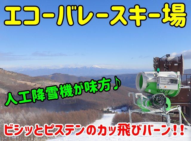 エコーバレースキー場。人工降雪機が強い味方♪ビシッとピステンのカッ飛びバーン!!