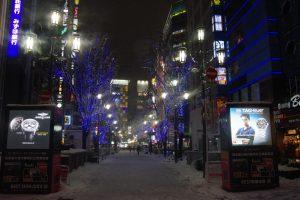 大雪の中の新宿歌舞伎町方面を望む
