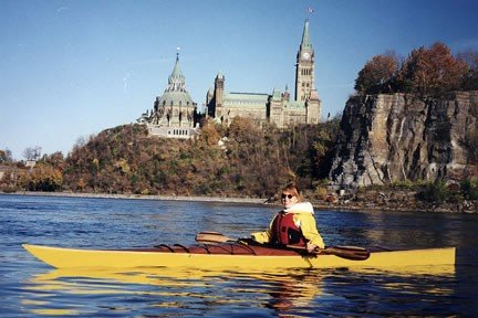 Kayaking in front of the Canadian Parliament