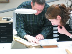 Scientist Greg Hodgins and curator, Kathryn James discuss the C-14 sampling locations. Sterling Memorial Library