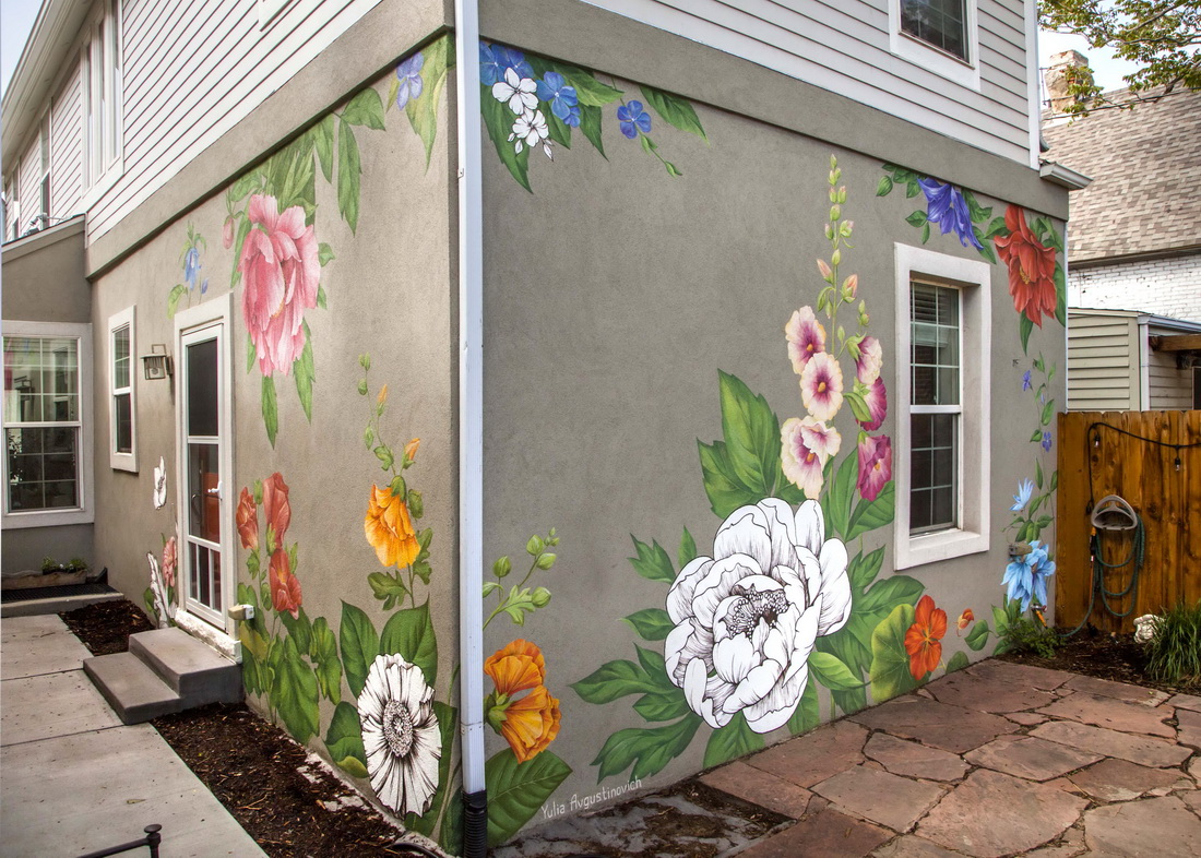 Flower Wall Art Mural painted on the walls of a private