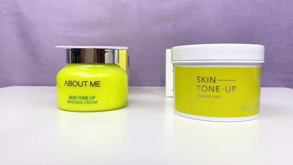 Банки About me, Skin Tone Up Massage Cream и About Me, Skin Tone Up Toning Pad