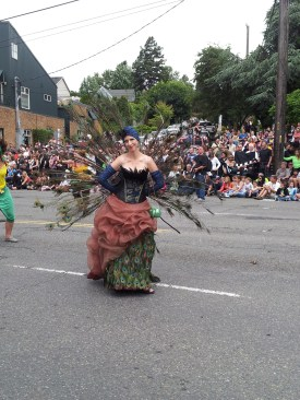 Ms. Peacock at the Fremont Solstice Parade with her turban.