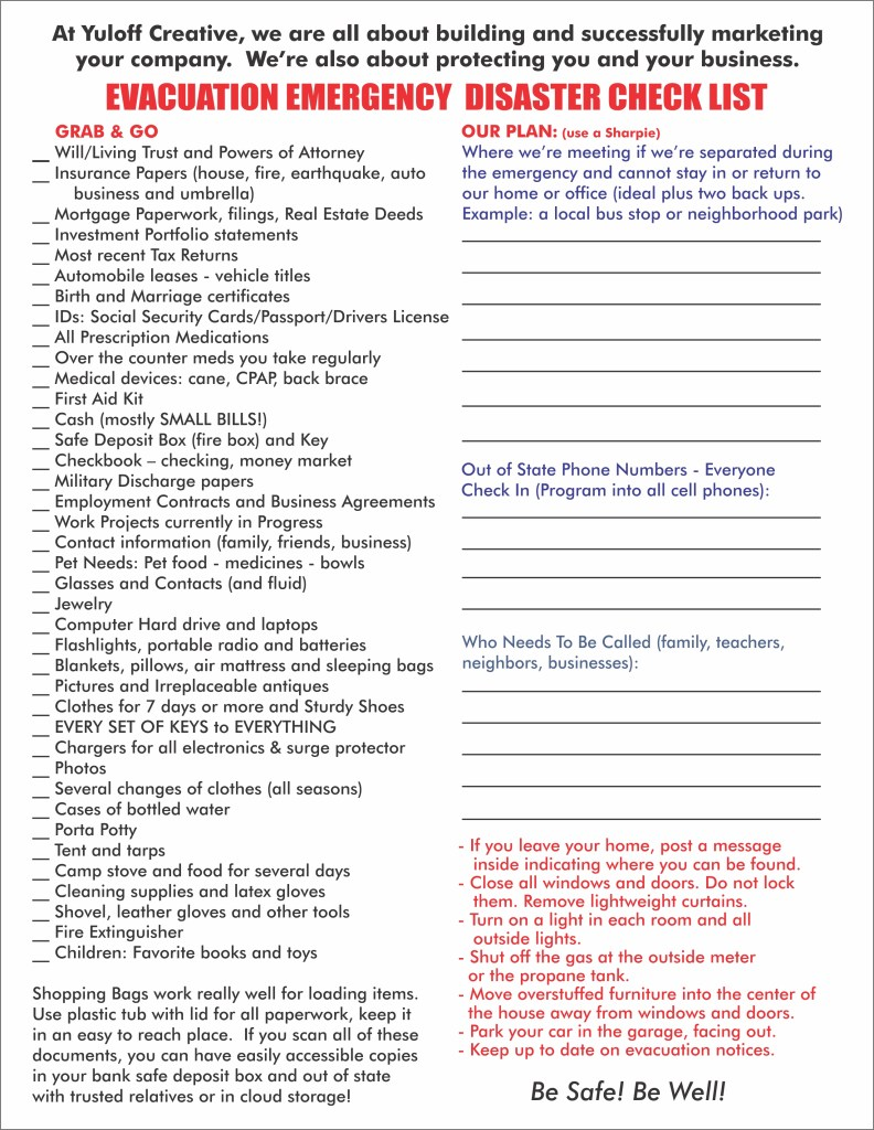 Emergency Checklist for home