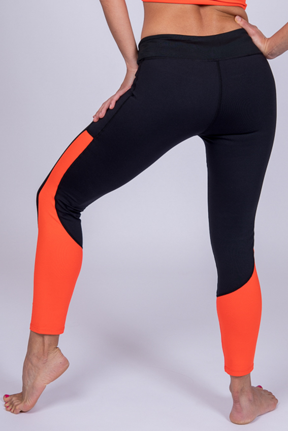 Mid-Rise Quite Capable Leggings – Black/Tangerine