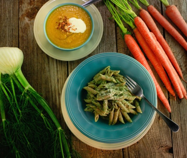 Carrot Top Pesto With Whole Grain Penne