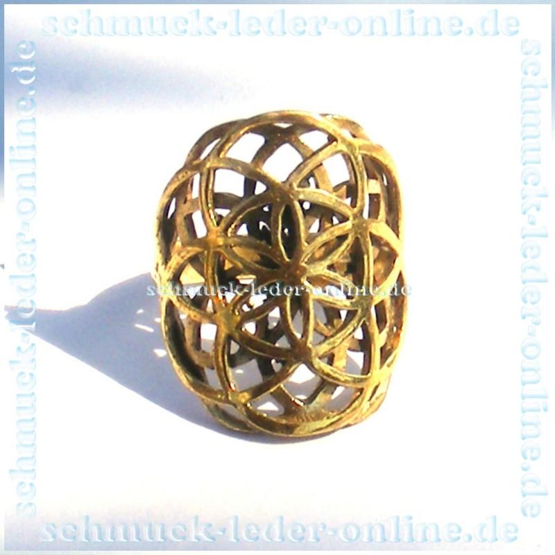 Goldene Blume des Lebens Messing Ring Wunderschn gnstig