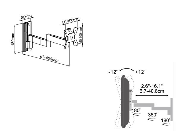 Soporte De Pared 10-31 Pulgadas LCD LED TV inclinable