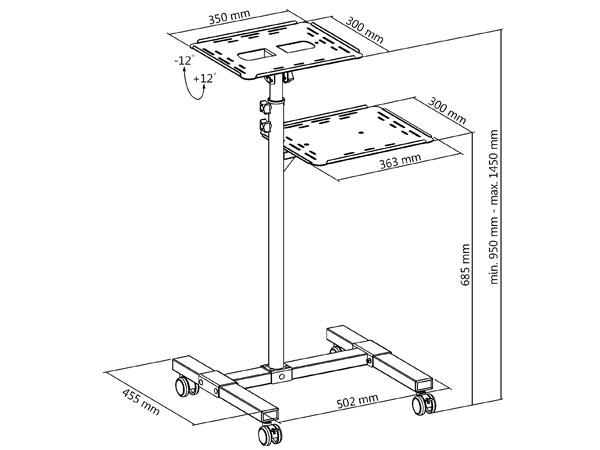 Overhead Projektor Beamer Rolltisch Ablage für Laptop