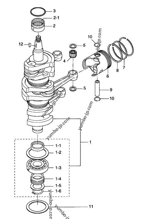 Diagram for: PISTON & CRANK SHAFT for TOHATSU M90A (90 hp