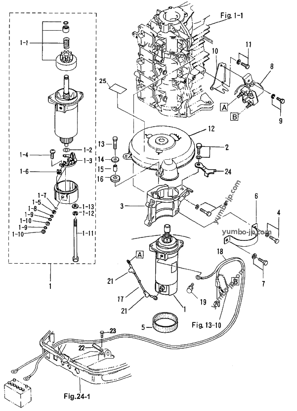 Diagram for: ELECTRIC PARTS (STARTER MOTOR) for TOHATSU