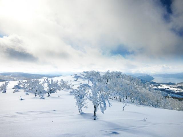 スキーで雪山に登る