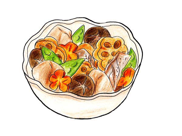 煮物やお惣菜を食べる