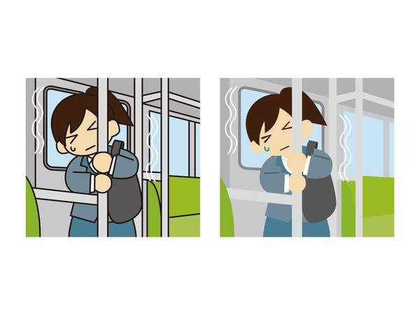 電車の中で地震に遭う