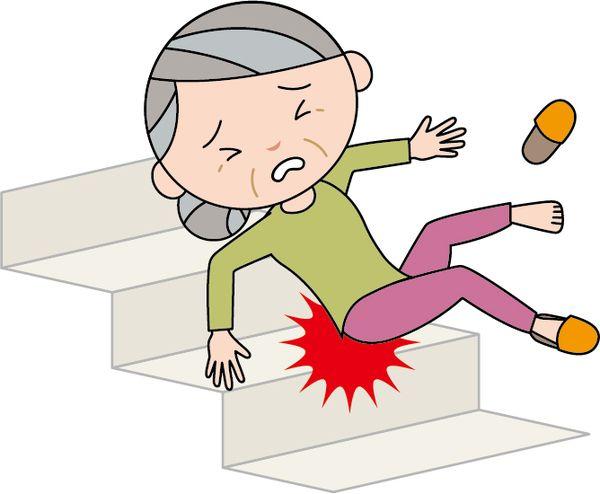 階段で滑り落ちる