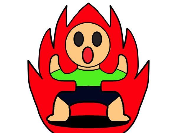 火事の中から火だるまの人が出てくる
