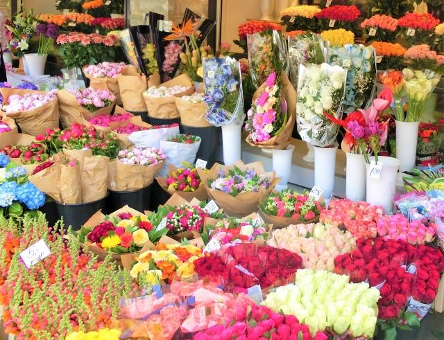 花屋に花がたくさん並んでいる