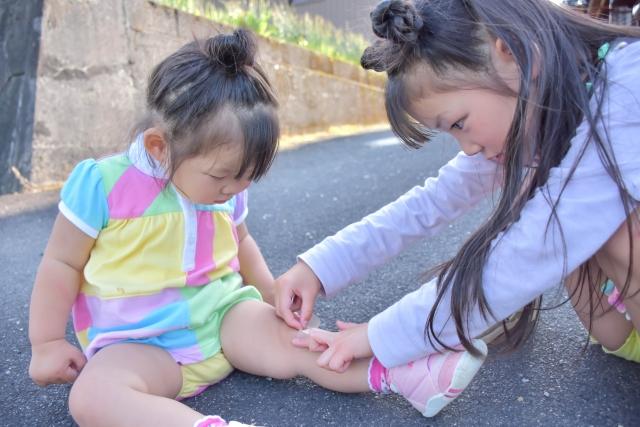 足をケガして絆創膏を貼る