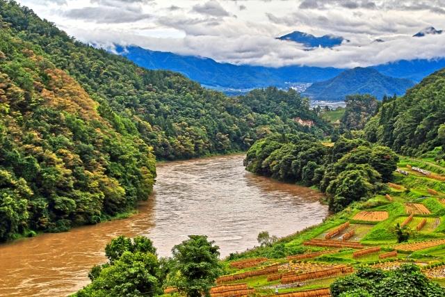 水が濁っている川